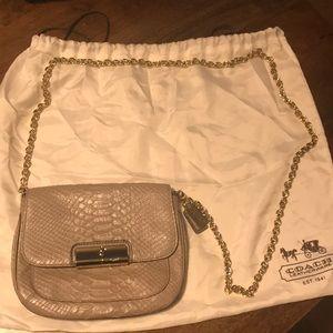 Coach leather python shoulder bag (mushroom color)